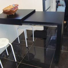 great table for small spaces Modern Kitchen Cabinets, Kitchen Flooring, Kitchen Furniture, Kitchen Interior, Home Interior Design, Home Furniture, Kitchen Decor, Condo Design, Küchen Design