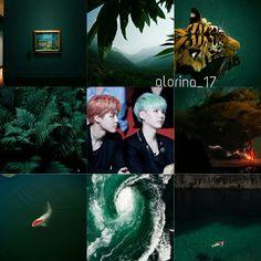 YoonMin . Jimin . YoonGi . BTS . Bangtan Boys . Green . Tiger . Water . Fish . Ocean .
