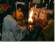 A goma fire ritual in Shingon Buddhism (真言宗). It is one of the mainstream schools of Japanese Buddhism and one of the few surviving Esoteric Buddhist lineages that started in the 3rd to 4th century CE that spread from India to China through travelling monks. The esoteric teachings would later flourish in Japan under Buddhist monk named Kūkai (空海), who travelled to Tang Dynasty China to acquire and request transmission of the esoteric teachings.