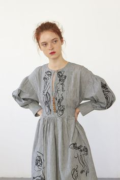 Heinui - LILITH dress (embroidered striped linen/cotton)