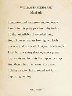 Macbeth Out Out Brief Candle Fine Art Print Book Page Style Shakespeare Print for Home, School or Office Citation Shakespeare, Shakespeare Macbeth, William Shakespeare Sonnets, Shakespeare Words, Poem Quotes, Words Quotes, Fine Quotes, Sayings, Classic Poems