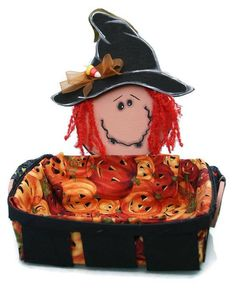 Halloween Basket with Witch Halloween Candy Basket Halloween Baskets, Halloween Candy, Witch, Teddy Bear, Handmade Gifts, Fabric, Party, Etsy, Fall