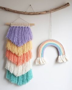Friends to the rainbow 🎠. You can send me a message for information 🎠. Yarn Crafts, Diy And Crafts, Arts And Crafts, Pom Pom Crafts, Macrame Projects, Design Blog, Fiber Art, Nursery Decor, Projects To Try