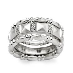 Set of Three .10 ct. t.w. Diamond Rings in Sterling Silver