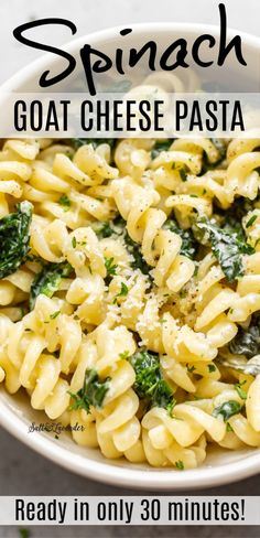 This spinach goat cheese pasta with lemon is easy and simple to make. Goat's cheese and parmesan make the sauce naturally creamy, and this is the perfect simple vegetarian pasta dish! Easy Pasta Recipes, Pork Recipes, Vegetarian Recipes, Healthy Recipes, Noodle Recipes, Pizza Recipes, Healthy Food, Dinner Recipes, Cheese Sauce For Pasta
