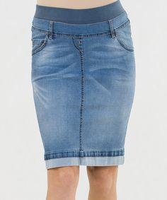 Love this Bright Blue Saba Mid-Belly Maternity Denim Skirt on #zulily! #zulilyfinds