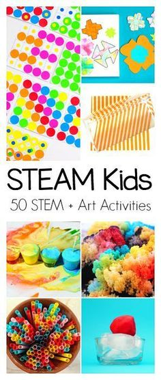 STEAM Kids 50 Science Technology Engineering Art and Math Activities for Kids Explore colors plants crystals light and Math Activities For Kids, Steam Activities, Science For Kids, Science And Technology, Kids Math, Engineering Technology, Space Activities, Food Art For Kids, Science Ideas