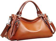Heshe® Luxury Ladies New Fashion Soft Cowhide Leather Top-handle Tote Shoulder Messenger Bag Cross Body Purse Vintage Handbag Casual Simple Style (Sorrel-SR) - http://leather-handbags-shop.com/heshe-luxury-ladies-new-fashion-soft-cowhide-leather-top-handle-tote-shoulder-messenger-bag-cross-body-purse-vintage-handbag-casual-simple-style-sorrel-sr/