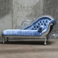 Vintage Furniture Pale blue velvet and silver chaise longue - Velvet with his luxurious beauty makes the space very classy and sophisticated place to live. With just one piece of furniture covered in velvet you will Velvet Furniture, Funky Furniture, Plywood Furniture, Unique Furniture, Shabby Chic Furniture, Vintage Furniture, Furniture Design, Painted Furniture, Vintage Sofa