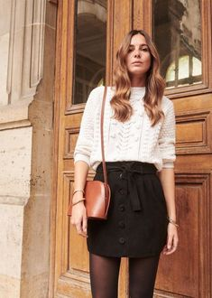 52 Best Ideas For Skirt Fashion Style Spring Outfits Black Skirt Outfits, Winter Skirt Outfit, Fall Winter Outfits, Autumn Winter Fashion, Spring Outfits, Button Down Skirt Outfit, Black Skirt Casual, Winter Style, Button Skirt