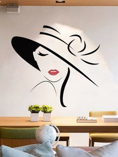 Wall sticker with motif of elegant woman-French Romwe What is Decoration? Decoration could be the art of decorating the inside … Simple Wall Paintings, Creative Wall Painting, Wall Painting Decor, Mural Wall Art, Creative Walls, Vinyl Wall Art, Home Decor Wall Art, Wall Painting For Bedroom, Vinyl Decals