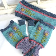 Embroidered Hand Knit Fingerless Glove AND/OR Ear by TuppersPerch