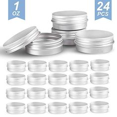 24pcs Steel Round Tin Cans 2oz Screw Top Lid Storage Beard Lip Balm Empty Can