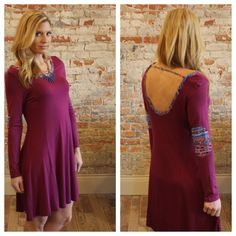 """Magenta tribal trim elbow patch dress Modeling size small. Available in S, M or L.  95% rayon 5% spandex. Bust laying flat: S 18.5"""" M 19.5"""" L 20.5"""" length S 36"""" M 37"""" L 38"""". please allow me to make you a personal listing. Just comment size needed. I discount bundles of two+ items.  Please allow me to make your bundle listing for you with your size requests rather than using the feature. OS1378122 Dresses Long Sleeve"""