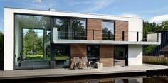 Floating prefab house / double-level / energy-efficient WATERVILLA DE HOEF Waterstudio.NL