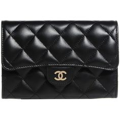 CHANEL Lambskin Quilted Small Flap Wallet Black ❤ liked on Polyvore featuring bags, wallets, credit card holder wallet, quilted wallet, chanel wallet, black clutch wallet and chanel