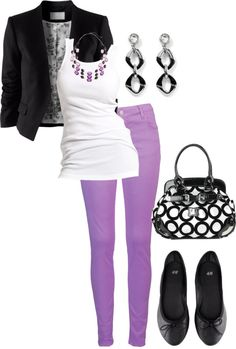 """""""Black, White & Lilac"""" by landyp on Polyvore"""