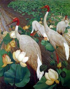 size: Art Print: Indian Sarus Cranes on Gold Leaf by Jesse Arms Botke : Art Prints For Sale, Fine Art Prints, Art Feuille D'or, Gold Leaf Art, Draw On Photos, Pin Up Art, Affordable Art, Leaf Prints, Botanical Art