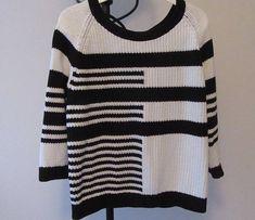Retro Sweater. Black and White Sweater. Retro Jumper. Retro