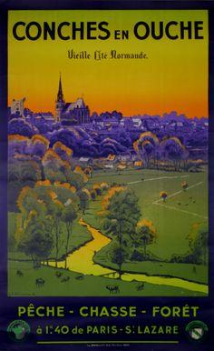 Vintage Travel Poster - Conches en Ouches - Vieille Cité de Normande - France - by L.F Chalicarne - 1936.