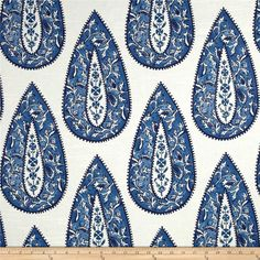 Lacefield Bindi Large Paisley Slub Cobalt from @fabricdotcom  Screen printed on cotton slub duck (slub cloth has a linen appearance), this versatile medium weight fabric is perfect for window accents (draperies, valances, curtains and swags), accent pillows, duvet covers, slipcovers, upholstery and other home decor accents. Create handbags, tote bags, aprons and more. Colors include white and cobalt blue. This fabric has 9,000 Double Rubs.