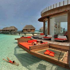Awesome setting at Bora Bora. Bora Bora has resorts on the water so you can just wake up, put on your swimsuit, and jump right out of your hotel room and into the ocean. Vacation Places, Dream Vacations, Places To Travel, Vacation Ideas, Travel Destinations, Holiday Destinations, Best Honeymoon Destinations, Dream Trips, Oh The Places You'll Go
