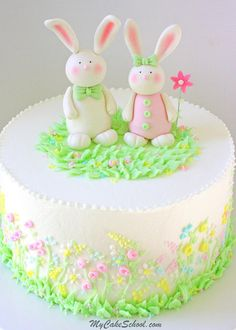 Adorable Gum Paste Bunnies! Cake topper video tutorial by MyCakeSchool.com (from our member cake video section). Perfect for Easter and springtime cakes, baby showers, and young birthdays!