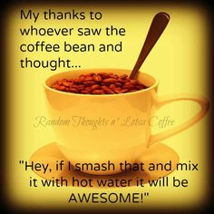 """My thanks to whoever saw the coffee bean and thought """"Hey, if I smash that and mix it with hot water it will be AWESOME!"""""""
