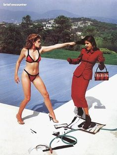 "Editorial : ""Cindy Vs Helena"" Magazine : VOGUE France, 1991 Photographer : Helmut Newton Models : Cindy Crawford and Helena Christensen"