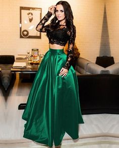 Black Lace Crop Top Satin Floor Length Prom