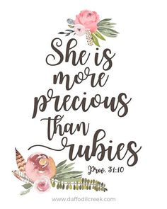 She Is More Precious Than Rubies - Bible Verse Print, Vintage Girls Nursery, Watercolor Floral Art, Proverbs 31, Bible Verse for Girls