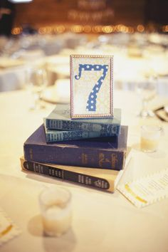 table number idea.  if I marry an English professor or a book-lover like me, this just might work!