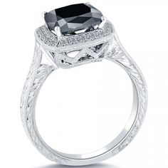 3.05 Carat Certified Cushion Cut Black Diamond Ring 18k Pave Halo Vintage Style - Black Diamond Engagement Rings - Engagement - Lioridiamonds.com