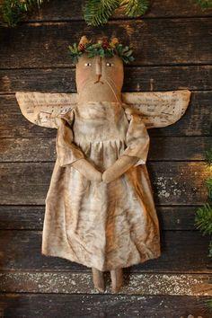 Primitive Doll Patterns, Primitive Folk Art, Primitive Crafts, Primitive Painting, Primitive Stitchery, Primitive Snowmen, Textiles, Cat Doll, Primitive Christmas