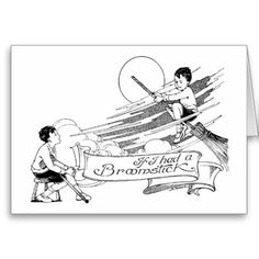 Vintage Halloween Card  Delightful black and white vintage Halloween card showing a boy dreaming he is riding a broomstick.