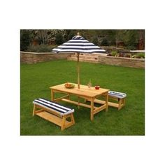 Outdoor Kids Wood Table and Bench Set w/ Navy Striped Cushions and Umbrella Kids Outdoor Table, Wooden Picnic Tables, Outdoor Tables And Chairs, Outdoor Decor, Wood Table, Patio Tables, Resin Patio Furniture, Kids Furniture, Outdoor Furniture Sets