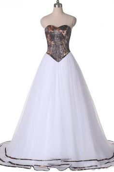 A-line Sweetheart Sweep Train Organza Bridal Dress