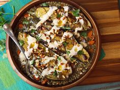 Roasted Eggplant With Tahini, Pine Nuts, and Lentils. This could turn me into a vegetarian! - Roasted Eggplant With Tahini, Pine Nuts, and Lentils Recipe Lentil Recipes, Vegetarian Recipes, Cooking Recipes, Healthy Recipes, Tofu Recipes, Clean Eating, Roast Eggplant, Eggplant Rolls, Eggplant Recipes