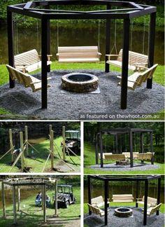 Outdoor fire pit and pergola idea