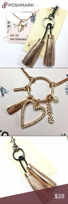 "BCBGeneration Rose Gold Necklace Tassel Keychain This Necklace is so beautiful! Super chic keychain too! 32""  Necklace  BCBGeneration Jewelry Necklaces"