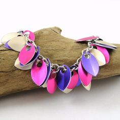 Chainmail Scale Bracelet in Pink Purple and Silver