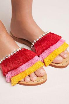 Slide View: 1: Mystique Fringed Slide Sandals