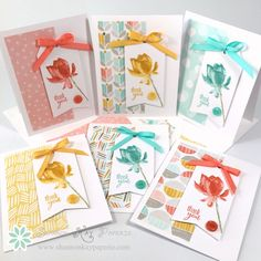 Stampin' Up! ... handmade thank you cards ... lotus on a fishtail banner ... bow ... patterned paper ... each in coordinating colors ...