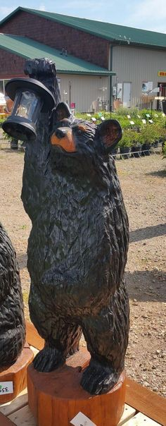 ***** FREE SHIPPING!! ***** This hand carved bear sculpture is sure to add to your rustic décor. Ready for your indoor or outdoor landscape - for the cabin, lodge, second home. Our bears are carved from salvaged, standing dead, dry, lodgepole pine. The initial form was roughed out using a variety Chainsaw Wood Carving, Wood Carvings, Bear Statue, 3 Bears, Bear Decor, Tree Carving, Bear Art, Big Bear, Hand Carved