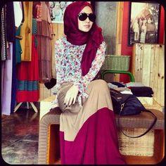 #Maroon#beige#hijab