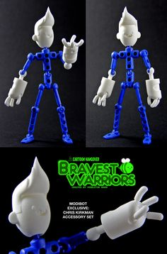 Bravest Warriors Fans, Unite! ModiBot's teamed up with Frederator to bring you a 3d printed Chris accessory kit to upgrade your basic Mo figure (included) into one of the Mightiest Heroes in the Universe. The poseability of all the parts, especially the ball-jointed fingers, bring Chris to life right in your hands! Available now at the ModiBot Kickstarter- http://kck.st/11N6FvT