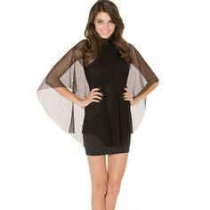 Blackmilk So Over You Net Dress Black bodycon with fishnet cape attached. Blackmilk museum piece Blackmilk Dresses Mini