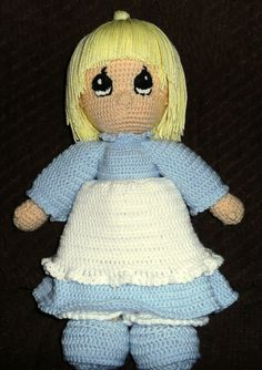 Precious moments crocheted doll with blue by GoodasGoldCrafts, $40.00
