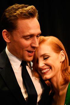 Tom Hiddleston and Jessica Chastain attend the 'Crimson Peak' New York premiere at AMC Loews Lincoln Square on October 14, 2015 in New York City. Full size image: http://ww3.sinaimg.cn/large/6e14d388gw1exdnusqtogj21kw1vmwzw.jpg Source: Torrilla, Weibo