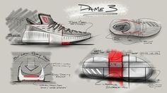 The adidas Dame 3 is inspired by Lillard's family and his journey to the NBA. According to adidas, he started shooting on milk crates in Oakland, California Basketball Design, Basketball Shoes, Futsal Adidas, Adidas Shoes, Sneakers Nike, Sneakers Design, Adidas Dame, Shoe Releases, Shoe Sketches